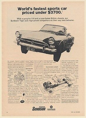 1967 Sunbeam Tiger V-8 World's Fastest Sports Car Under $3700 Print Ad