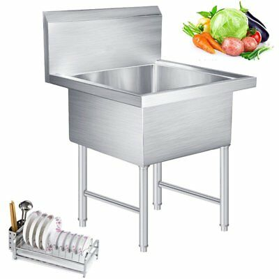Commercial Kitchen Bar Wash Prep Utility Sink 1 Compartment Stainless Steel