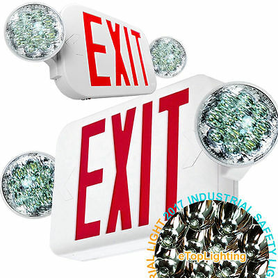 NEW LED Exit Sign & Emergency Light – High Output - RED Compact Combo UL COMBO