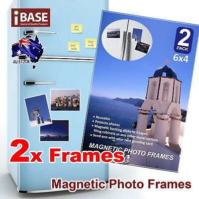 2x Magnetic Photo Fridge Frame 6x4 Picture Notes Clear Pocket Idea Gift Home
