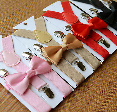 Baby Toddler Kids Adjustable Suspender and Bow Tie Set Tuxedo Wedding Suit Party
