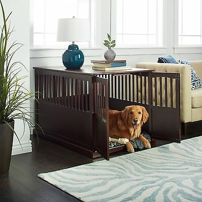 Dog Crate End Table Kennel Pet Cage Wood Indoor Wooden Bed Large Furniture Puppy