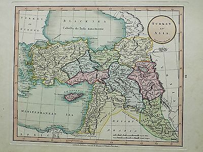 1801 Laurie Whittle Map Turkey Asia Cyprus Middle East Palestine Antique Armenia