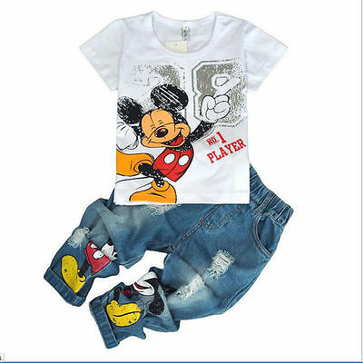 2pc Kids Baby Boys Short Sleeve Tops+Jeans Denim Pants Mickey Mouse Clothes Sets