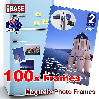 100x Frames 6x4 Magnetic Photo Picture Notes Fridge Clear Pocket Idea Gift Decor
