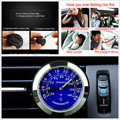 Car Auto Thermometer A/C Vent Clip Perfume Refill Storage Fragrance Reserve