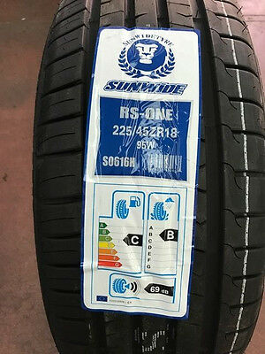 Pneumatici Gomme ESTIVE 225 45 R18  95 W   SUNWIDE RS-ONE S0616H DOT 2016