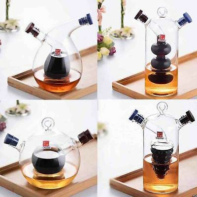 New 2in1 Glass Oil&Vinegar Cruet Set Bottle Kitchen Storage Dispenser Drizzler