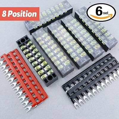 Hilitchi 12pcs 600V 15A 8 Position Double Row Screw Terminal Strip and 400V 10A