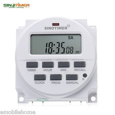 SINOTIMER 220V Microcomputer Time Switch with LCD Display