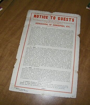 vintage hotel INNKEEPER'S DEFRAUDING warning early 1900's Cleveland Ohio