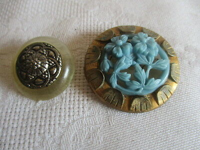"""Two Vintage Floral Lucite Buttons 1 1/2"""" & 1"""""""