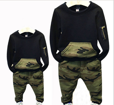 2pcs Baby Cute Boys Long Sleeve Camouflage Tops+Pants Kids Casual Outfits Set