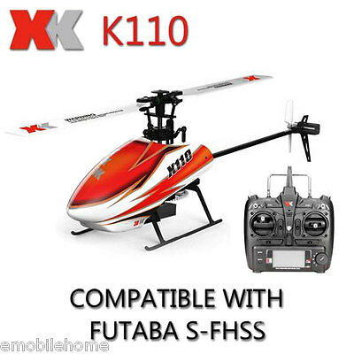 XK K110 2.4GHz 6CH Gyro RC 3D Aerobatic Flybarless Helicopter RTF Brushless Set