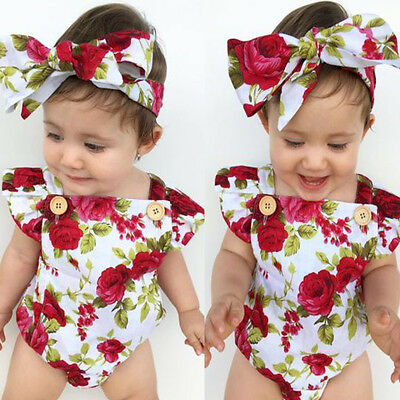 Newborn Baby Girl Clothes Flower Jumpsuit Romper Bodysuit  + Headband Outfits OC