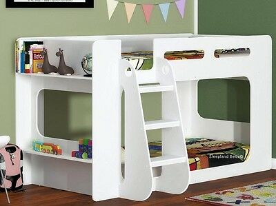 White Short Height Bunk Bed - Extra Low Bunk With Storage Shelf
