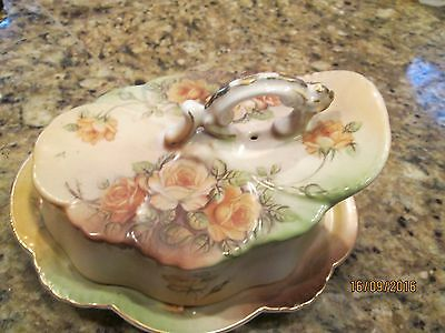 ANTIQUE PORCELAIN HAND PAINTED CHEESE KEEPER Price reduced!!