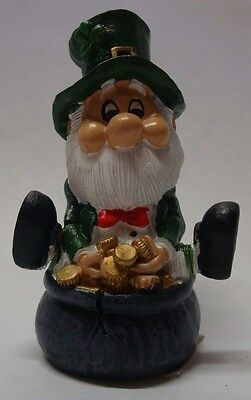 IRELAND WEE FOLK Leprechaun LITTLE MAN SITTING ON POT OF GOLD