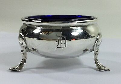 Antique Black Starr Gorham Sterling Silver Footed Master Salt Cobalt Glass