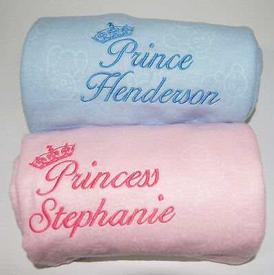 Personalised Embroidered Baby Fleece Blanket Girls & Boys Gift Prince & Princess