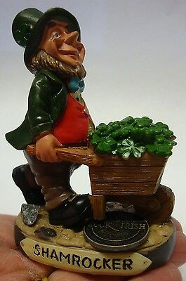 IRELAND FINNIANS LEPRECHAUN with wheelbarrow full of shamrocks shamrocker