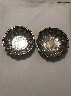 Ferdinandus VII Coin Dish Sterling Silver 1900 And Isabel 2  Coin Dish 1850