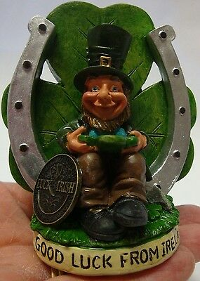 Ireland Finnians Leprechaun Good Luck From Ireland Under Shamrock And Horseshoe