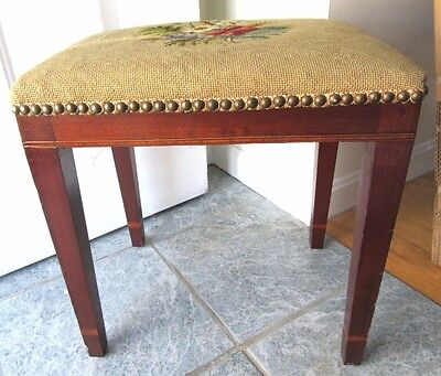 Tall Vintage Mahogany Needlepoint Foot Stool Ottoman Inlaid Marquetry Brass