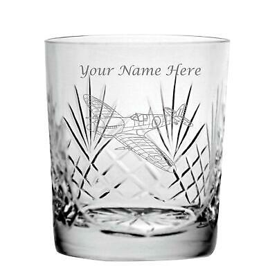 Personalised Engraved Cut Crystal 11oz Whisky Glass With Spitfire Design