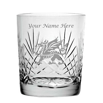 Personalised Engraved Cut Crystal 11oz Whisky Glass With Welsh Dragon Design