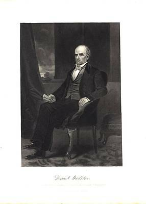 Vintage Steel Engraving Print 1861 Daniel Webster