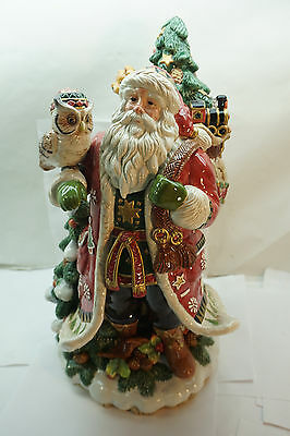 FITZ AND FLOYD CHRISTMAS LODGE SANTA CENTERPIECE FIGURINE LARGE 18.5in OWL FOX