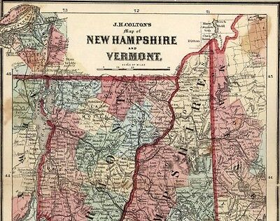 New Hampshire Vermont Massachusetts New England 1865 Colton small antique map
