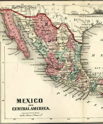 Mexico Central America Guatemala Honduras 1865 Colton scarce small antique map