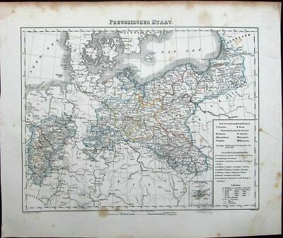 Prussia Germany Berlin Denmark provinces c.1849 antique detailed German map