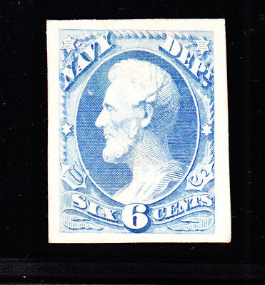 US O38P4 6c Navy Department Proof XF GEM (-003)