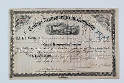 CENTRAL TRANSPORTATION CO. ~  early railroad stock certificate  - 1876