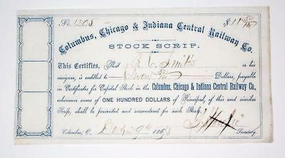 COLUMBUS, CHICAGO AND INDIANA CENTRAL RAILWAY CO. ~  stock certificate  - 1873