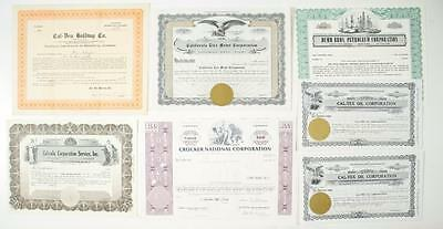 California - Stock Certificate Group (7) - please inspect (includes 3 Oil Stocks