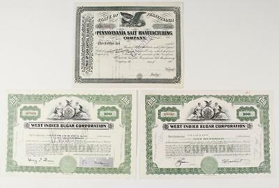 Stock Certificate Group - (3pcs) ~  Sugar & Salt ~ please inspect