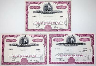 United States Banknote Corporation Stock Certificates (3) 1965-73 Virginia