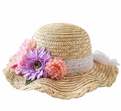 Girls Straw Hat Easter Spring Flowers Classic Summer Beach Sun Protection Hats