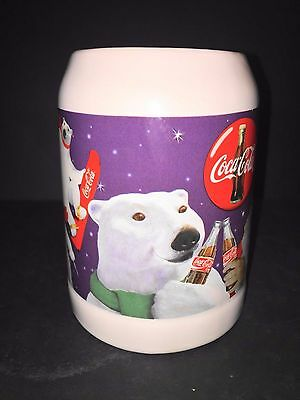 Coca-Cola Winter Olympic Sports Coke Polar Bear & Santa Claus Stein Mug 1995