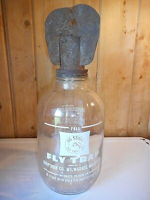 Vintage 1953 Big Stinky Fly Trap Large Jar Great Graphics