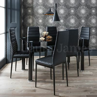 Dining Table and 6 Chairs Set Glass Dining Table Black and White