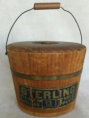 Small Early Sterling Collar Advertising Bucket with Bail Handle