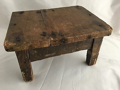 Charming Antique 19th C Small Wooden Primitive Footstool Step Stool