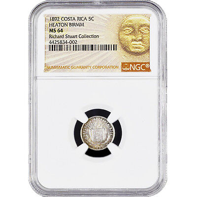Costa Rica 5 C Silver Coin 1892 NGC Certified KM 128 Richard Stuart Collection