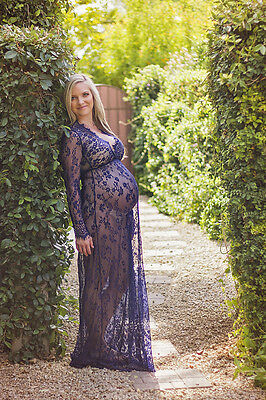 Navy Blue Lace Maternity Gown Maxi Evening Gown Long Sleeve Maternity Dress XL