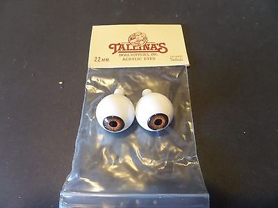 1 Pair Of New Packages Tallina's Acrylic Doll Eyes brown -22MM New Old Stock